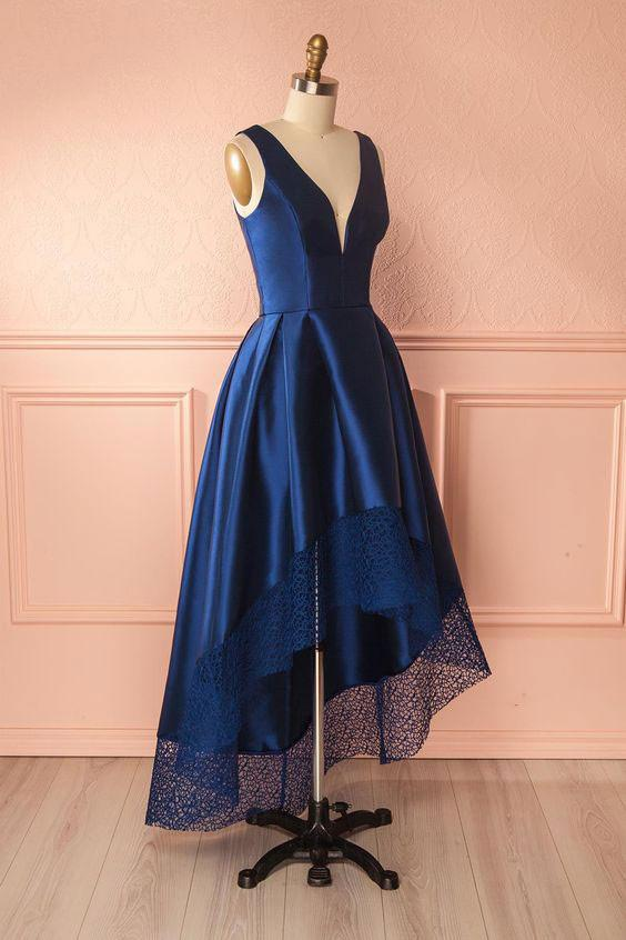 D028 DARK BLUE V NECK HIGH LOW PROM