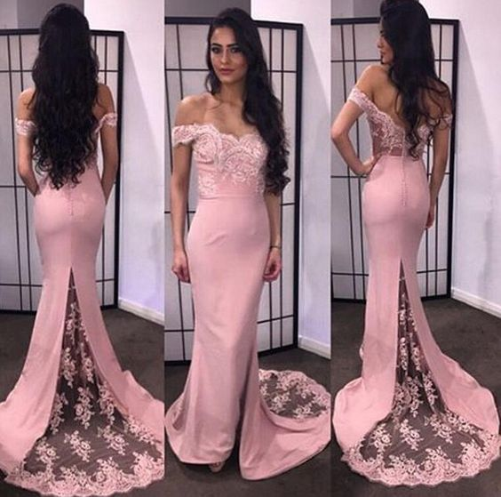 f060e46c4c16 E112 Off The Shoulder Short Sleeve Pink Chiffon Long Prom Dresses, Mermaid  Evening Dresses, Arabic Style Evening Dress,Bridesmaid Dress,Prom Dress,Evening  ...