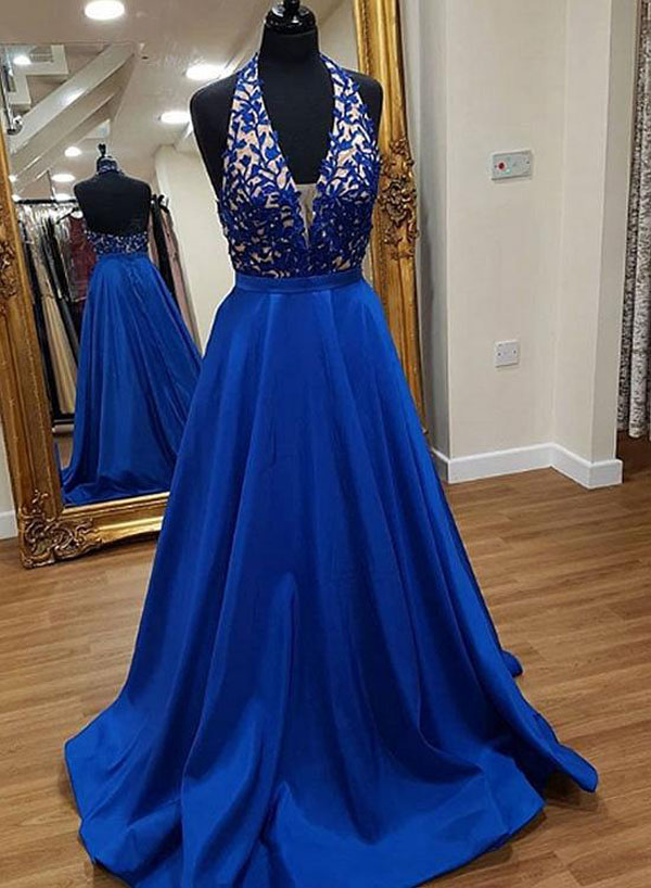 D161 Stylish A-Line Halter Royal Blue Long Prom Dress 741ca25d2