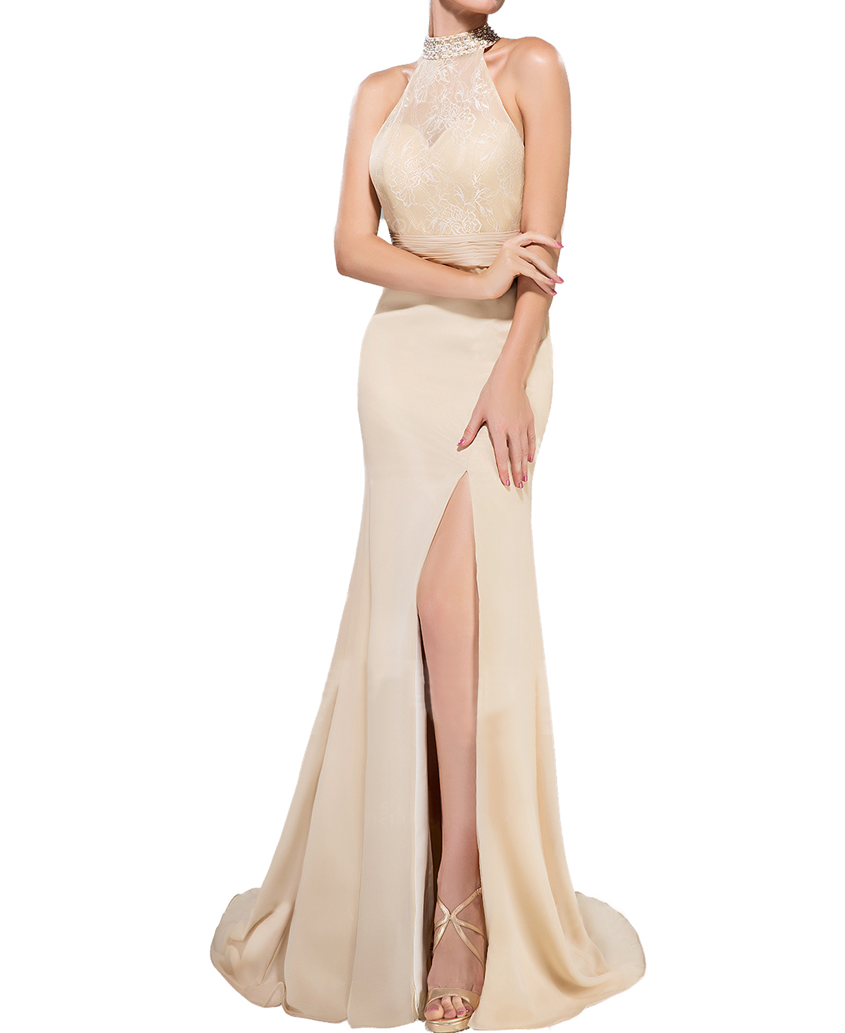 D257 Trumpet Mermaid High Neck Sweep Train Chiffon Lace Evening Dress With Ruffle Beading Sequins Split Fronthalter Neck Lace Champagne Mermaid Prom