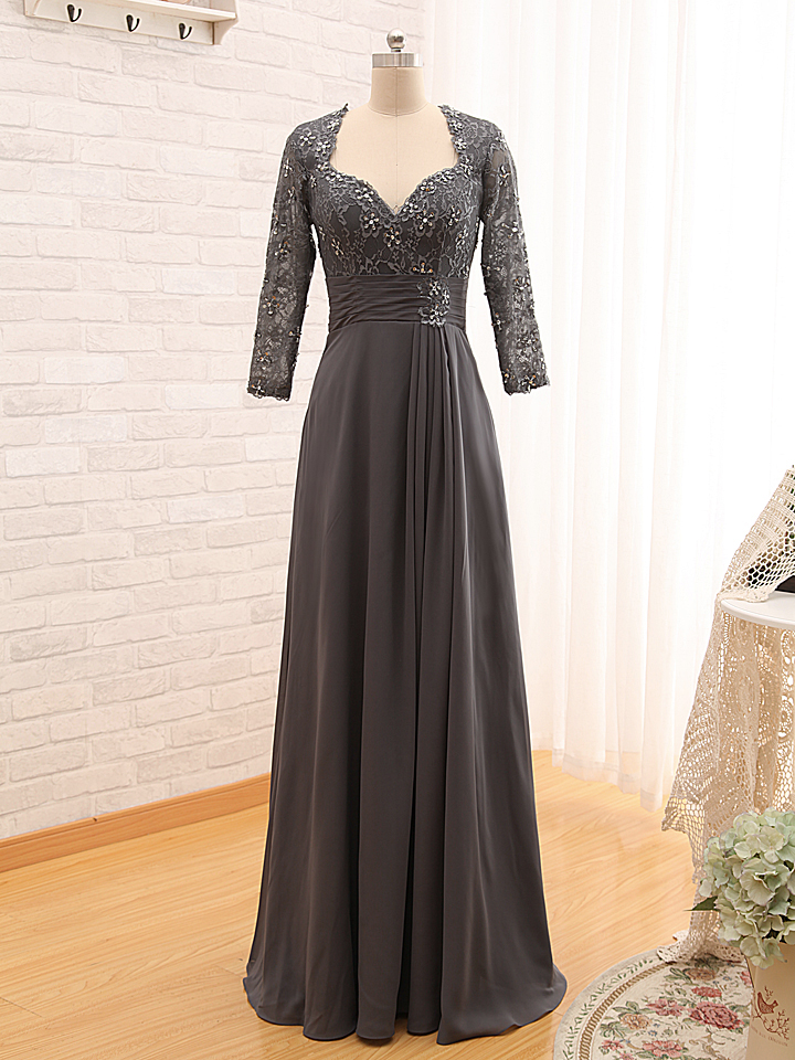 39d384e151c D295 Top Lace Formal Elegant A Line Long Chiffon Grey Lace Prom Dress with Long  Sleeves