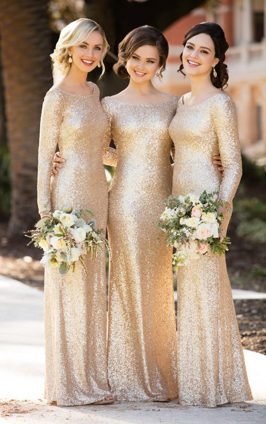 E310 Long Sleeves Bridesmaid Dress Gold Sequins Mermaid Sleeve