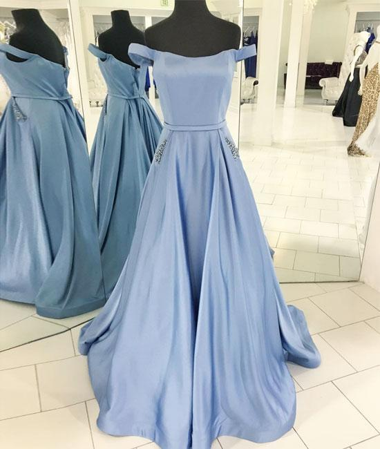 e65722fa144 D380 Simple Off Shoulder Light Blue Satin Prom Dress with Beaded Pockets