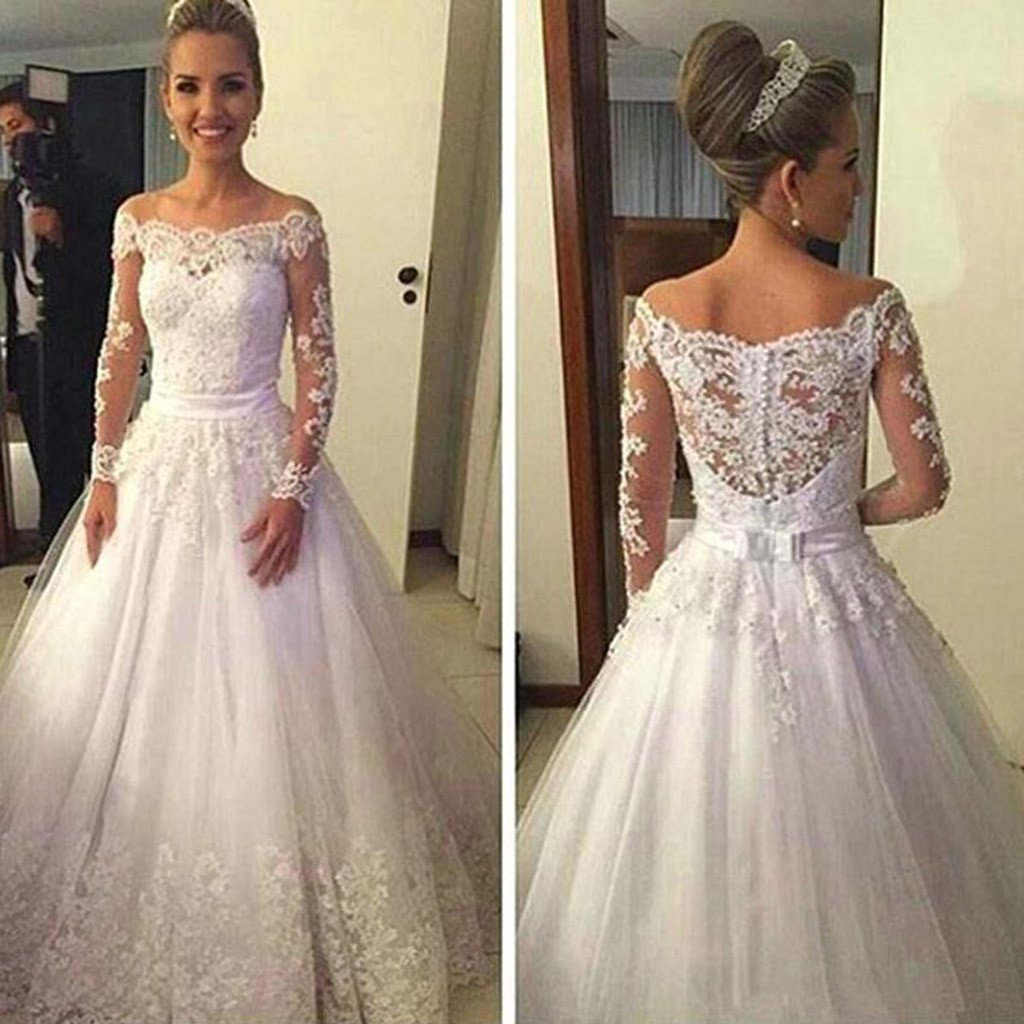 0a05c9b30c91 D524 Vantage Off Shoulder Long Sleeve White Lace Tulle Wedding Dresses
