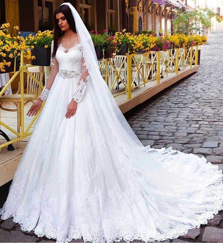 2655a49660 D536 Crystal Elegant Lace bridal gowns bridal dresses Princess Long-Sleeve Wedding  Dresses