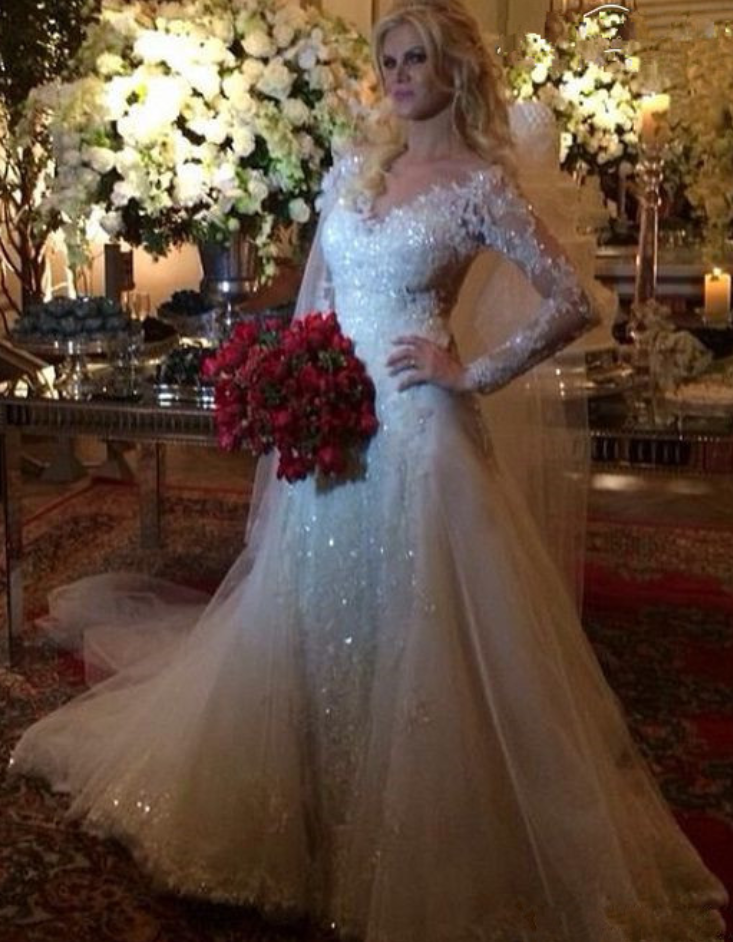 90977f9e D538 Deep V Neck Long Sleeves Lace Mermaid Sequin Sexy Wedding Dress,See  Through Top Lace Sequin Lace Mermaid Long Sleeves Bridal Dress Wedding Gown,2018  ...