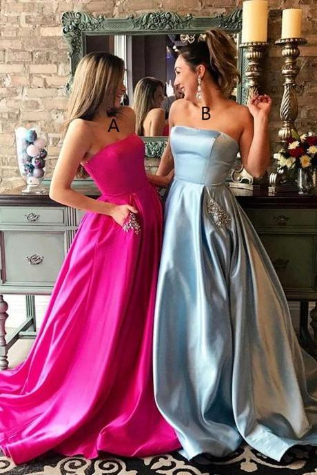 Custom Made Strapless Bandeau Neckline Satin Long Evening Dresses with Pockets, Bridesmaid Dresses, Bridal Collection, Prom Dresses