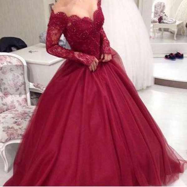 2b22ee5b863a ... E50 Full sleeve Off-the-Shoulder Floor-Length Red Wedding Bridal Gowns  Ball