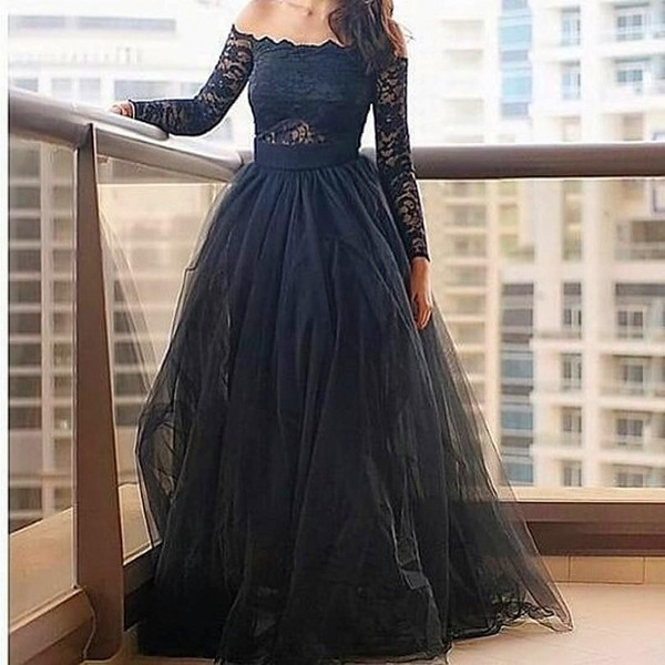 1f1a20572308 ... Sweep Brush Train Mermaid Long Sleeve Dress E51 Full sleeve  Off-the-Shoulder Lace Zipper Floor-Length Ball Gown Black ...