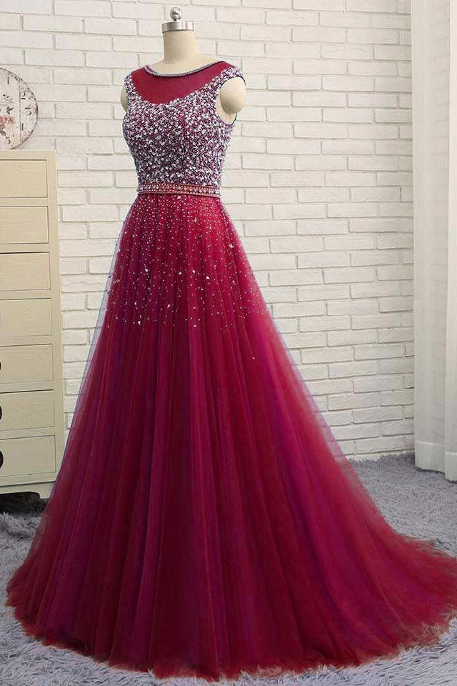 5a90005013 D013 BURGUNDY ROUND NECK TULLE SEQUIN TULLE LONG PROM DRESS. BURGUNDY  EVENING DRESS
