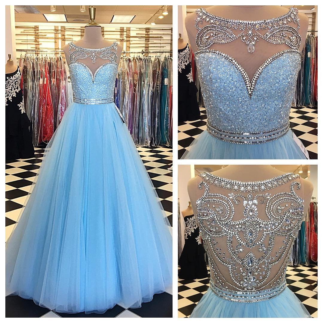 d8dd6412d8363 D070 Light Blue Prom Dress,Ball Gowns Prom Dress,Crystal Beaded Evening  Gowns,Long Formal Dresses,Top Beading A Line Long Tulle Crystal Blue Prom  ...
