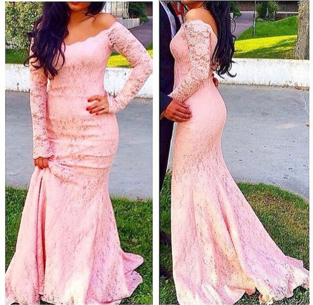 24863bf1c5 E431 Scoop Pink Lace Mermaid Prom Dresses